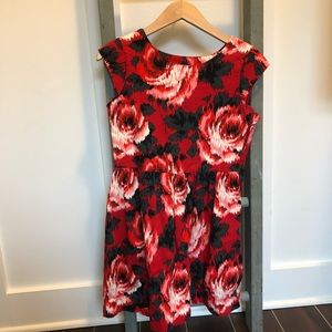 Gap Gorgeous Red Black Floral Holiday Dress sz 12